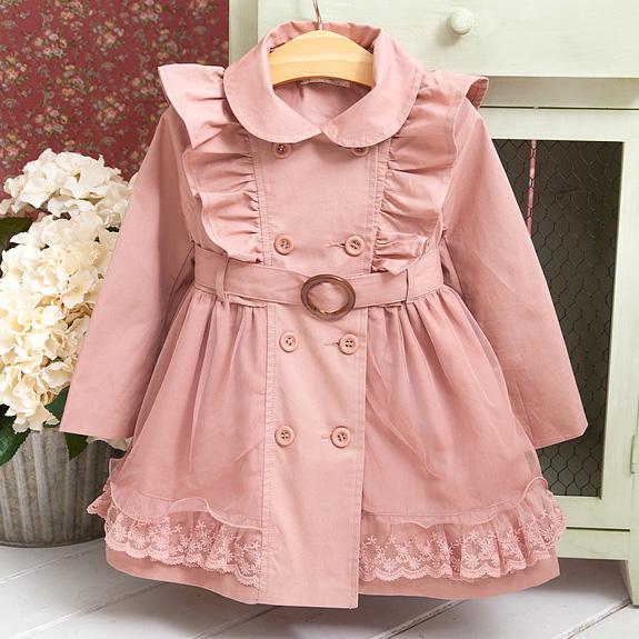 Fashion Flouncing Plain Pink Thicken Windbreaker Coat