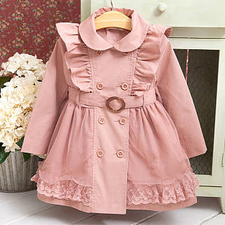 Fashion Flouncing Plain Pink Thicken Windbreaker Coat