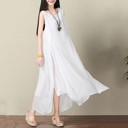 Loose Round Neck Side Slit Plain Maxi Dress