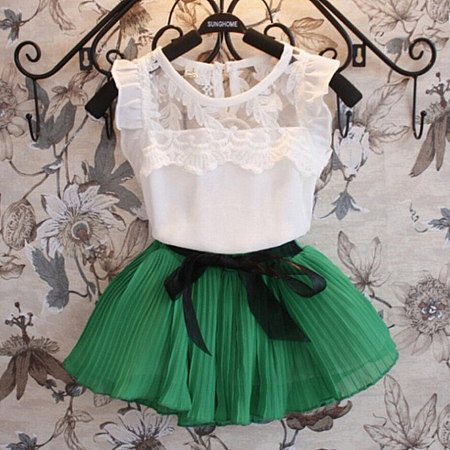 Girls Lace Tank Top And Pleated Skirt Sets