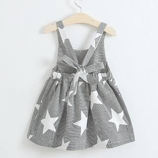 Girl Backless Star Stripe Casual Day Dress