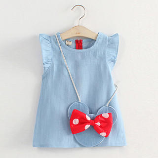 Fly Sleeve Denim Dress With Minnie Bag