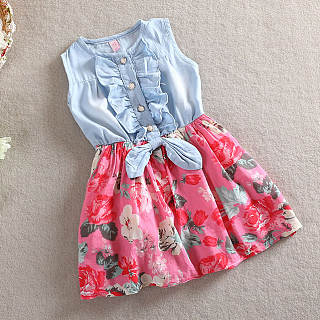 Girls Jeans Floral Dress