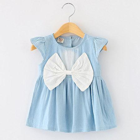 Big Bowknot Girls Denim Dress