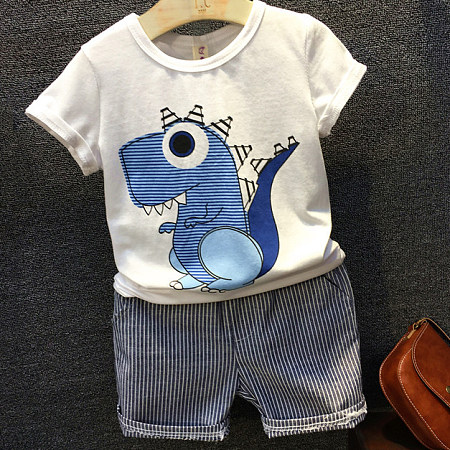 Dinosaur Short Sleeve & Stripe Shorts Outfit