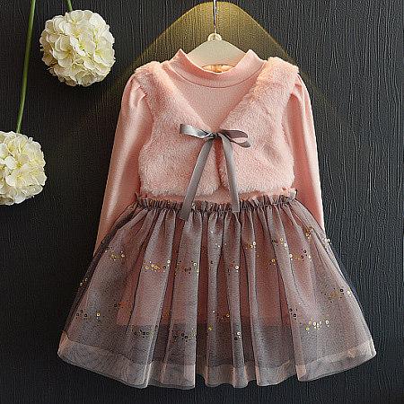 Girls Pink Fake 2 Pcs Fur Waistcoat Dress