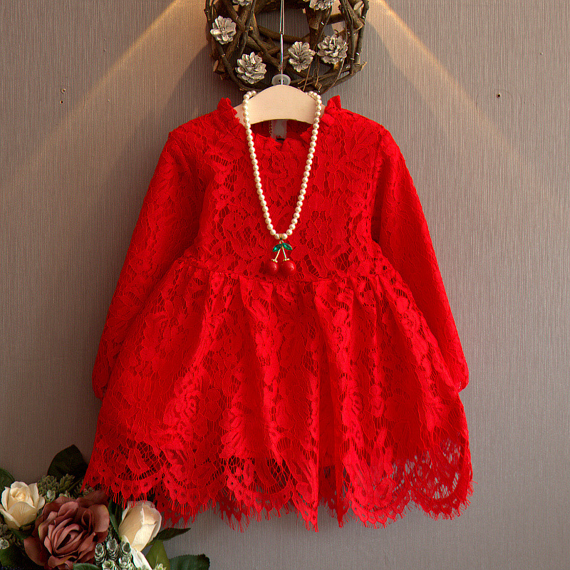 Girl Puff Sleeve Lace Dress