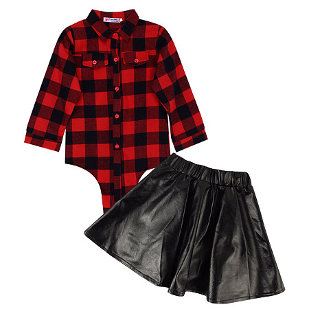 Red Grid Shirts And Black PU Skirt Sets