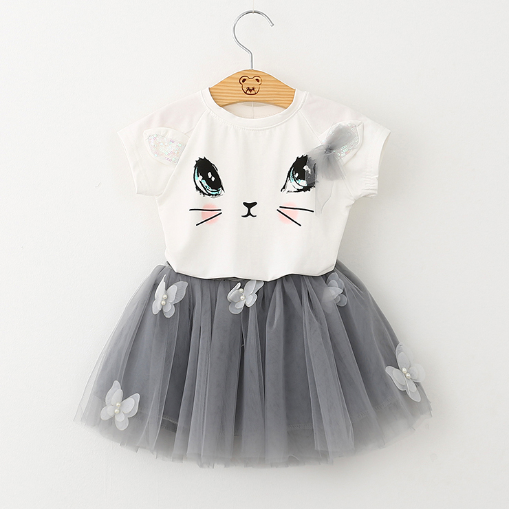 Girls Kitty Tops And Butterfly Tulle Skirt Outfits