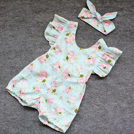Girls Floral Printed Toddler Romper With Hairband