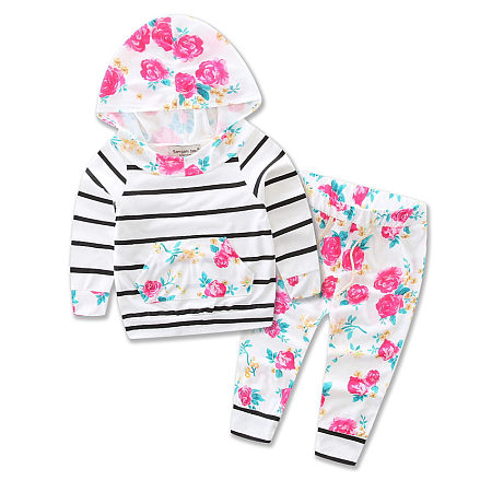 Several Colors Stripes Girls Boys Two Pieces Set