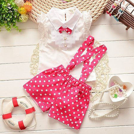 Polka Dots Bowknot Girls Summer Two Pieces Set, red, 16K11KGS93XJ