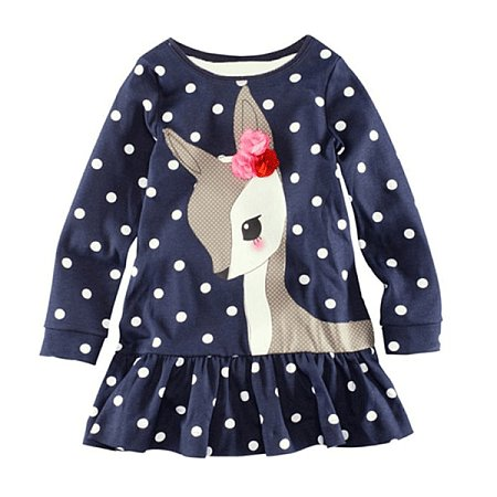 Girls Long Sleeve Dots Deer Cotton Dresses