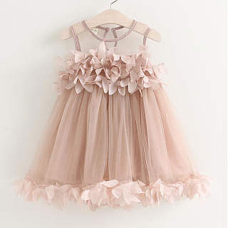 Sweet Nude Pink Petal Lace Princess Dress