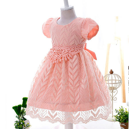 Sweet Beads Decorated Lace Girls Princess Formal Dress