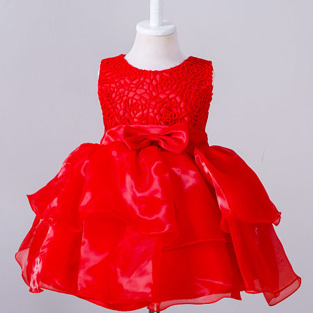 Hollow Out Roses Prints Bowknot Formal Princess Dress