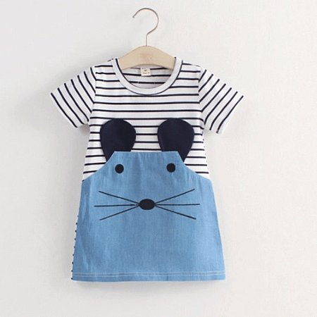Cartoon Mouse Pattern Stripes Summer Dress