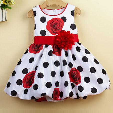 Rose Patterns Polka Dots Baby Girls Summer Dress