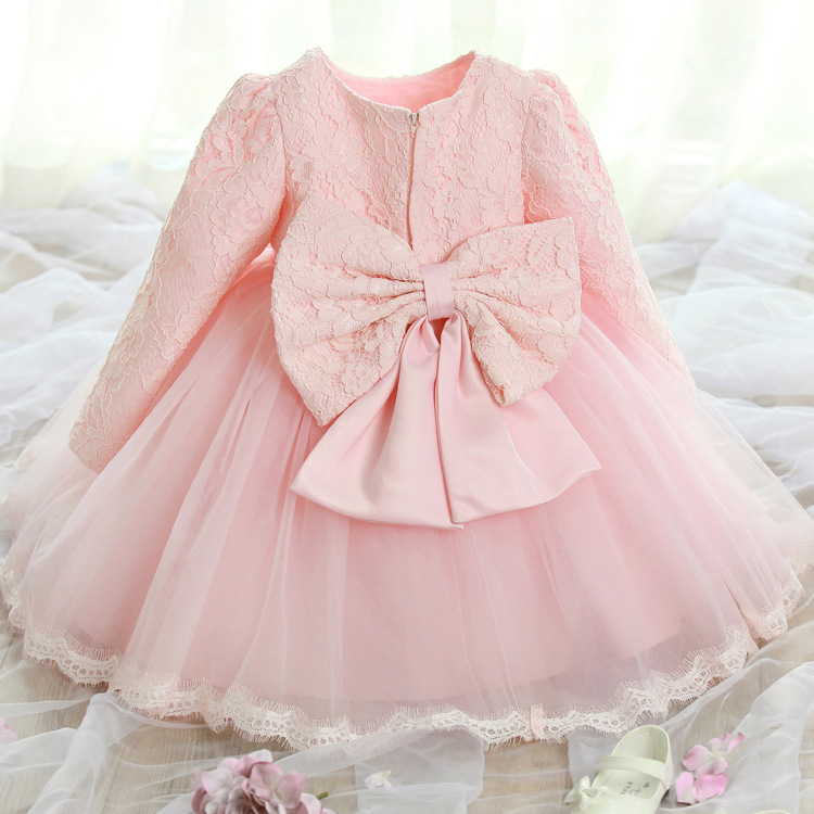 Big Bowknot Lace Long Sleeve Princess Dress