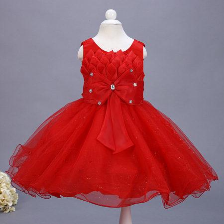High Quality Big Bowknot Girls Formal Princess Dress