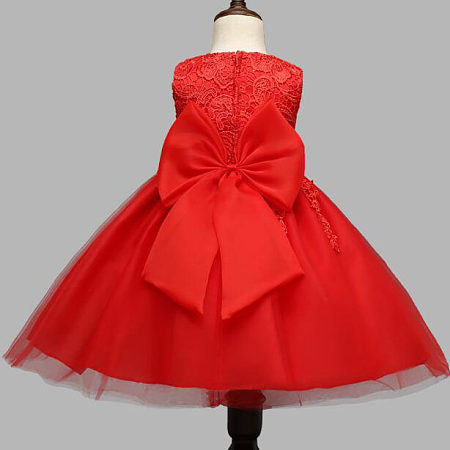 Exquisite Bowknot Lace Tassels Girls Sleeveless Princess Dress