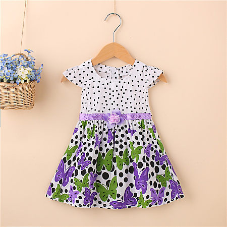 Butterfly Prints Polka Dots Girls Summer Dress