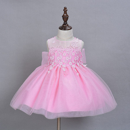 Pink Floral Tassels Tulle Baby Girls Princess Dress With Cap
