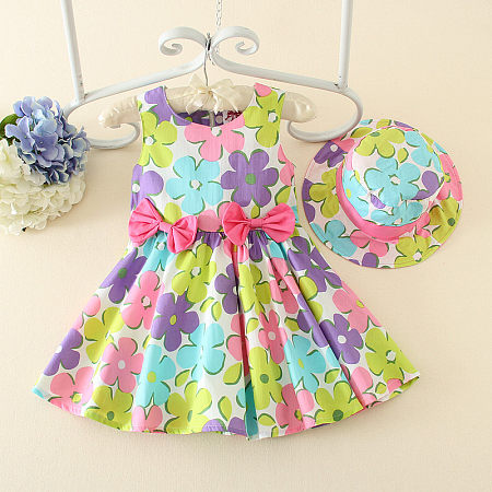 Beautiful Colorful Flowers Prints Bowknots Girls Summer Dress
