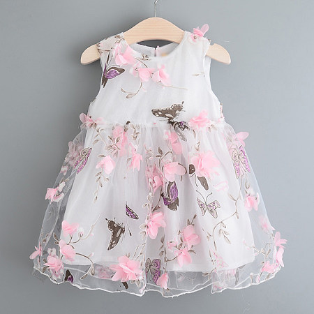 Butterflies Prints Flowers Decorated Girls Summer Dress