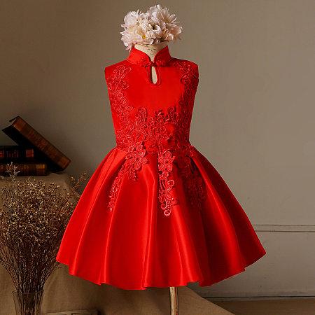Classic Oriental Red Floral Tassels Girls Princess Formal Dress