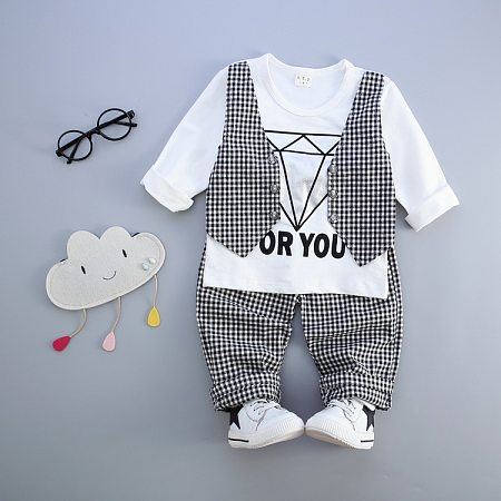Fashion Boys Plaid Two Pieces Set