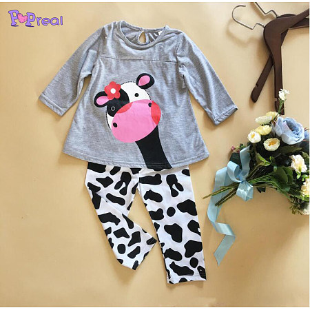 Cow Pattern Girls Spring Autumn Two Pieces Set