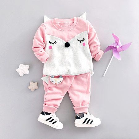 Adorable Fox Style Girls Spring Autumn Two Pieces Set