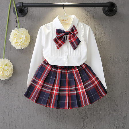 Bowknot Plaid Girls Spring Autumn Two Pieces Set