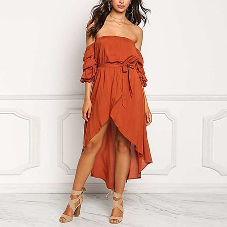 Elegant Off Shoulder Plain Belt Casual Dress