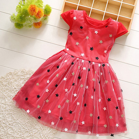 Girl Princess Dress Half-Sleeve Skirt Skirt Thin Section Dress, 8182151