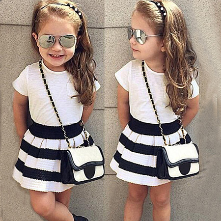 Casual Short Sleeve Striped Skirt Suit, 8193665