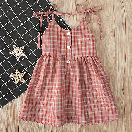 Mom Girs Summer Sleeveless Straps Off-The-Shoulder Skirt Plaid Matching Dress Children's Wear Family Matching Outfits, 8194440