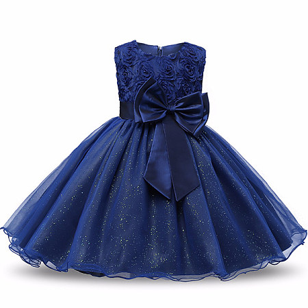 Bowknot Rose Decorated Zipper Back Tulle Patchwork Princess Dress