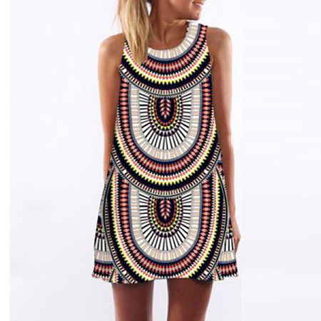 Geometric Prints Sleeveless Dress, stripe, 534469728926