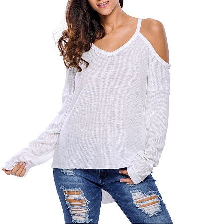 Women's Solid Cold Shoulder V-Neck Pullovers Knitted Sweater
