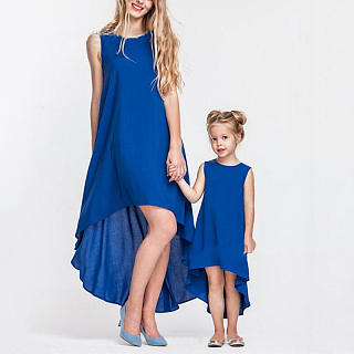 Mom Girl Solid Color Asymmetrical Matching Dress
