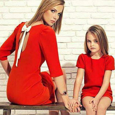Solid Color Round Neck Short Sleeve T-Shirt Parent-Child Equipment
