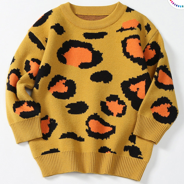 Fashion Round Collar Leopard Printed Knit Sweater
