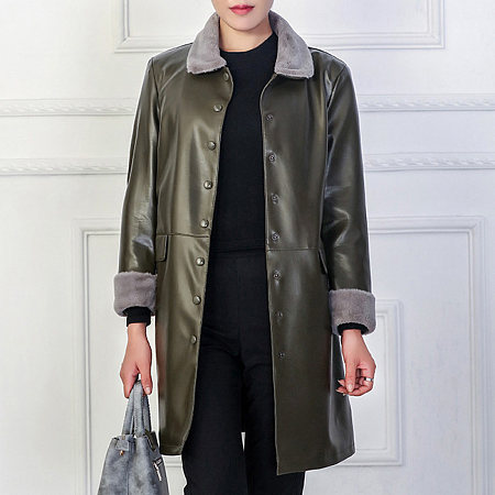 Faux Fur Collar Single Breasted PU Leather Coat