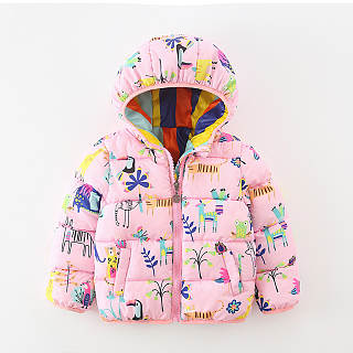 Cute Lovely Floral Thermal Zipper Long Sleeve Kid Outerwear