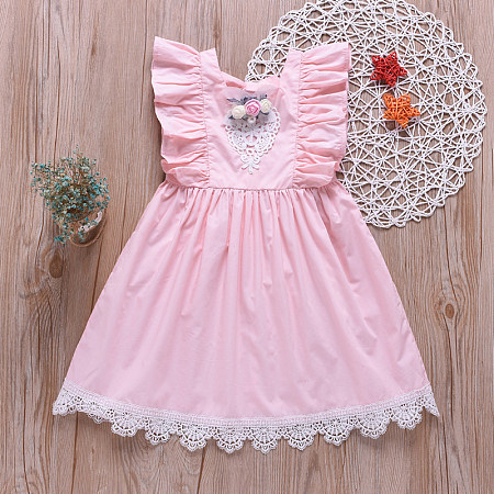 Fashion Floral Lace Pure Color Sleeveless Dress, 8192415