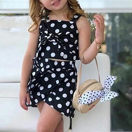 Mom Girls Summer Girlssling Polka Dot Topsirregularskirt Two-Piecechildren's Matching Dress Skirt Family Matching Outfits, 8193925