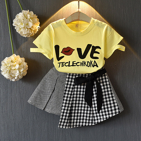 Casual Printed Short Sleeve Plaid Skirt, 8192546