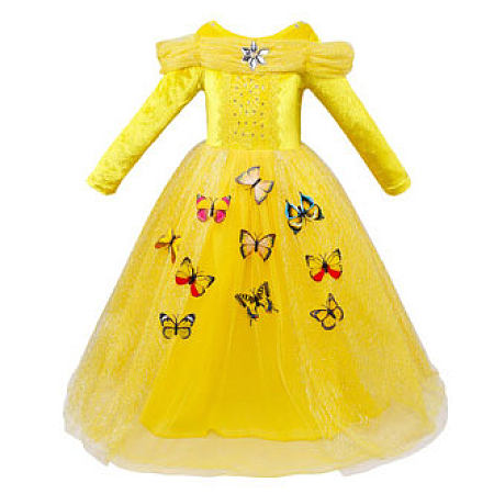 Butterfly Rhinestone Decorated Ankle Length Princess Dress